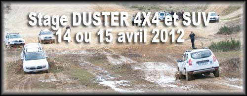 Stage DUSTER 4X4 et SUV: 14 ou 15 avril 2012