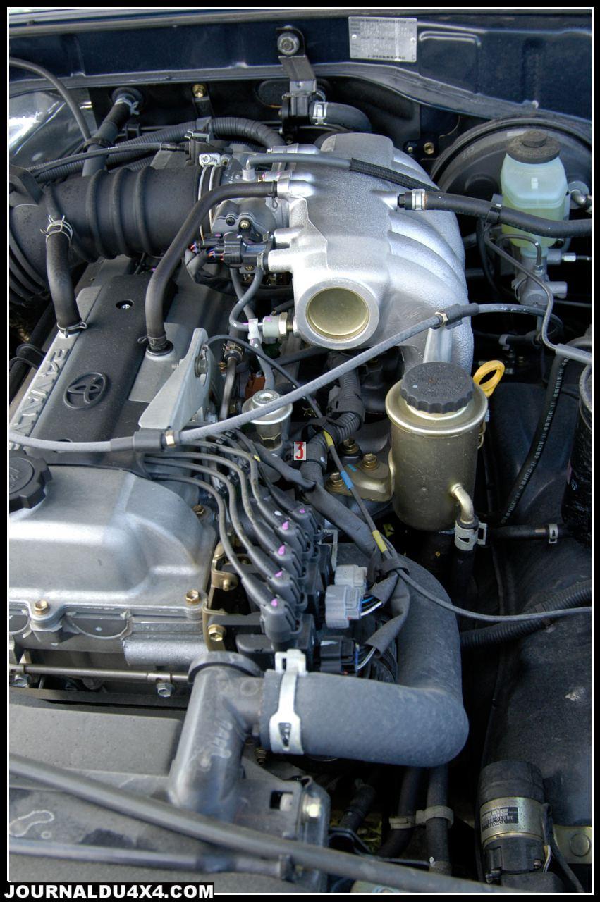 moteur essence 6 cylindres en ligne, doubles arbres à cames, à injection électronique multipoints de 4477 cm3