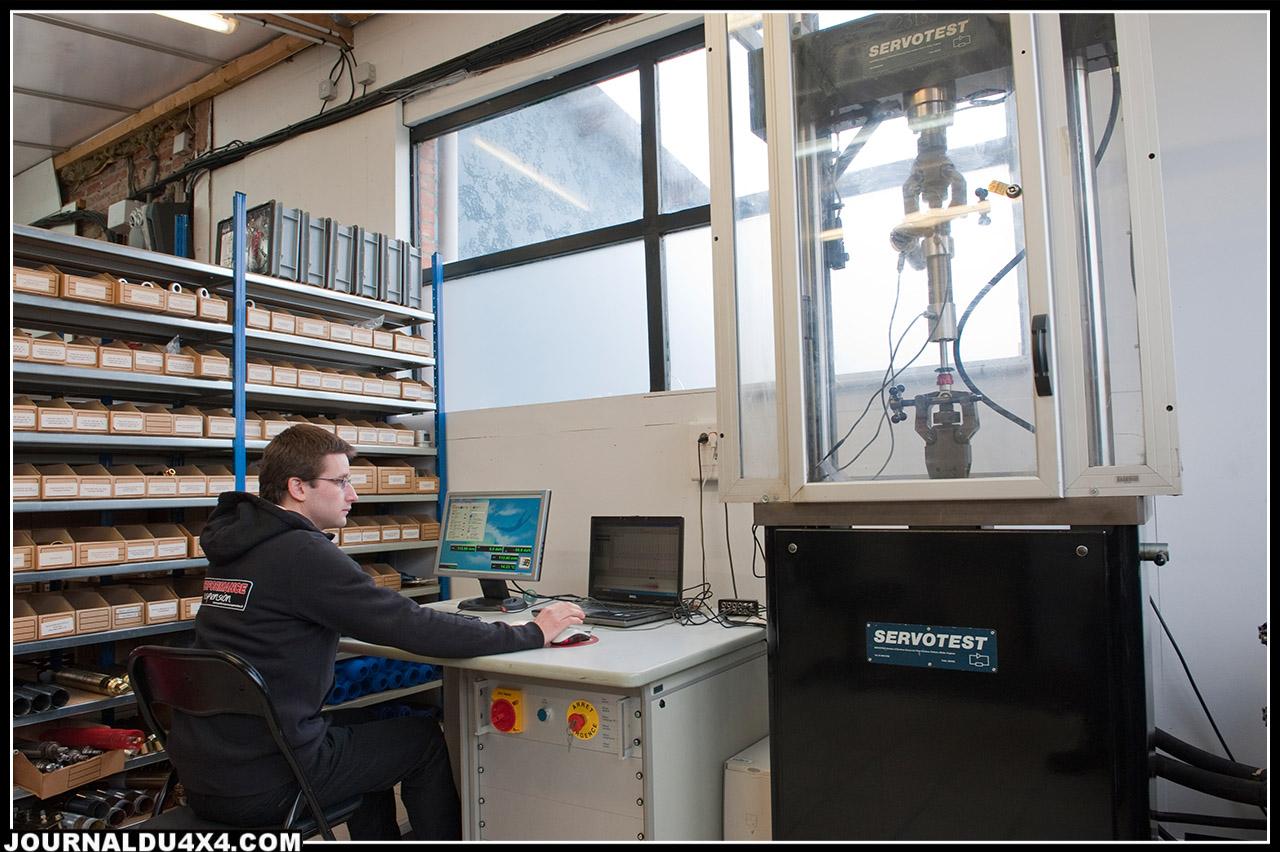 le banc hydraulique relié à des ordinateurs permet de simuler toutes sortes de terrains et de faire progresser les performances des amortisseurs