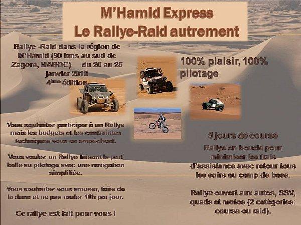 M'Hamid Express 2013, rallye raid 4×4 moto quad ssv Maroc