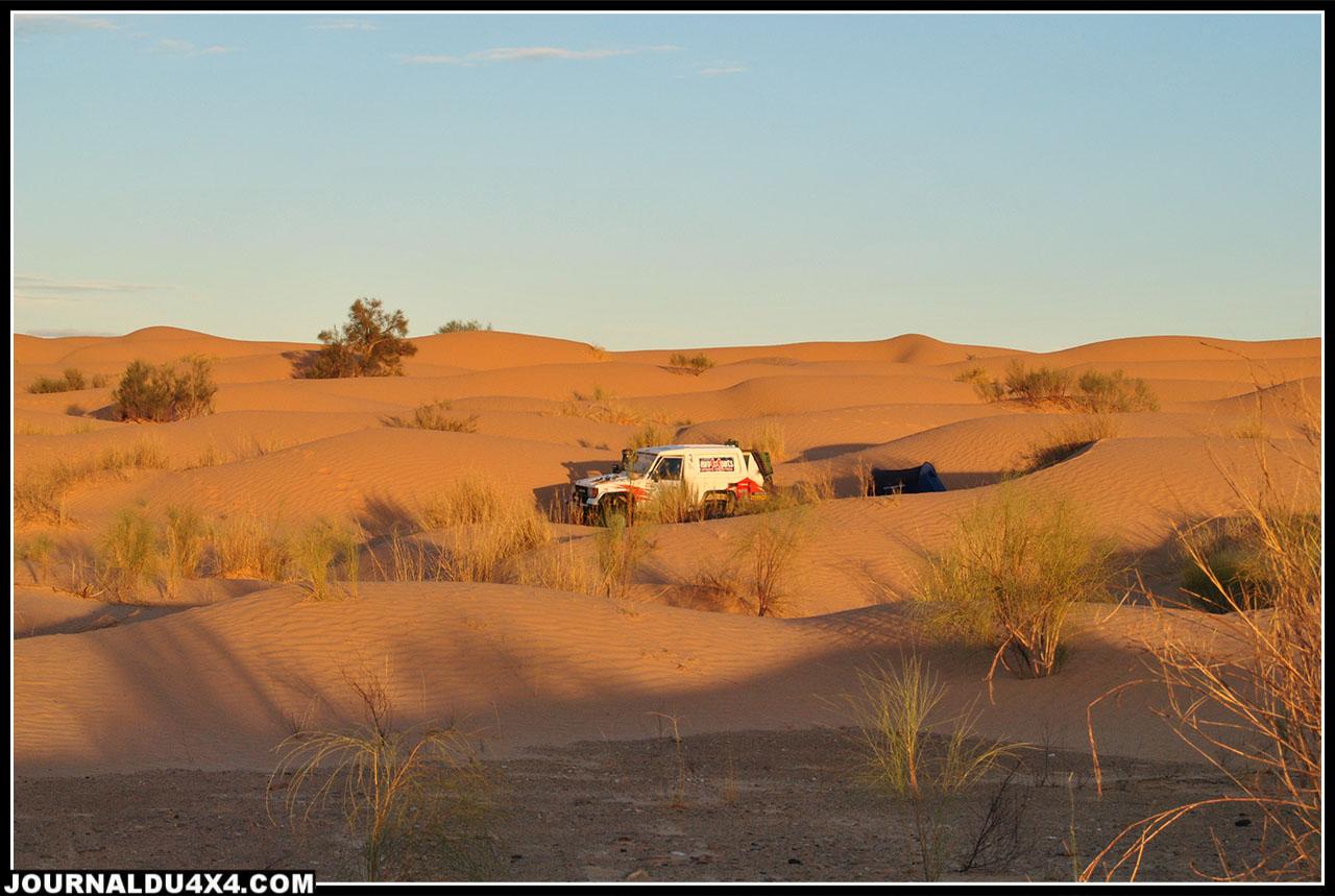 notre 4ème bivouac au cœur des dunes: tout simplement magique!!!