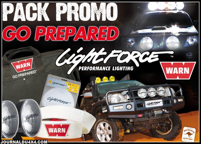 PROMO LIGHT FORCE jusqu'à épuisement du stock Montpellier 4x4  Une sangle WARN de treuillage (8 T 9m) et un sac de treuillage WARN OFFERTS pour l'achat d'une paire de phare LightForce 170mm