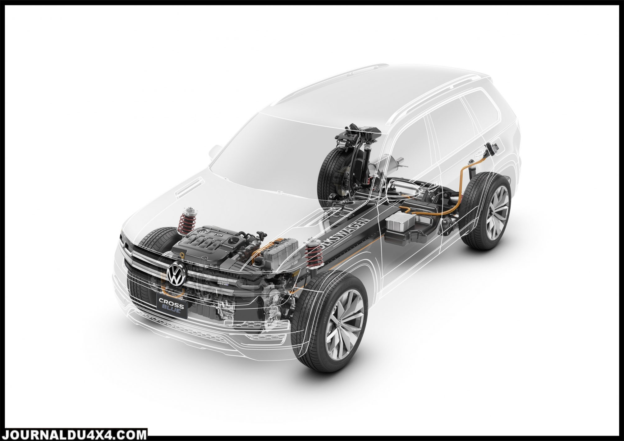cross blue SUV de taille moyenne - six personnes, diesel plug-in hybride