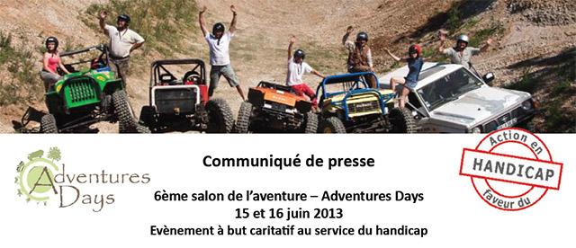 Salon de l'aventure – Adventures Days 15 et 16 juin 2013