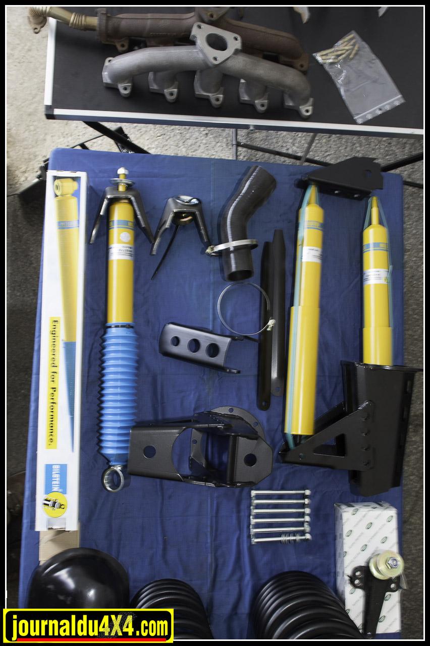 Pour Defender : kit suspension et collecteur pour td5
