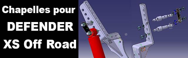 Chapelles pour DEFENDER XS Off Road : de nouveaux axes pour monter des amortisseurs œil/tige