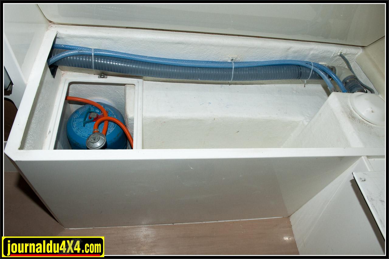 Rangement de la bouteille de gaz dans le coffre gauche