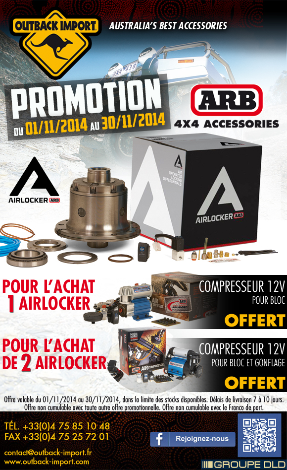 Compresseur ARB offert pour l'achat d'un Air Locker ARB