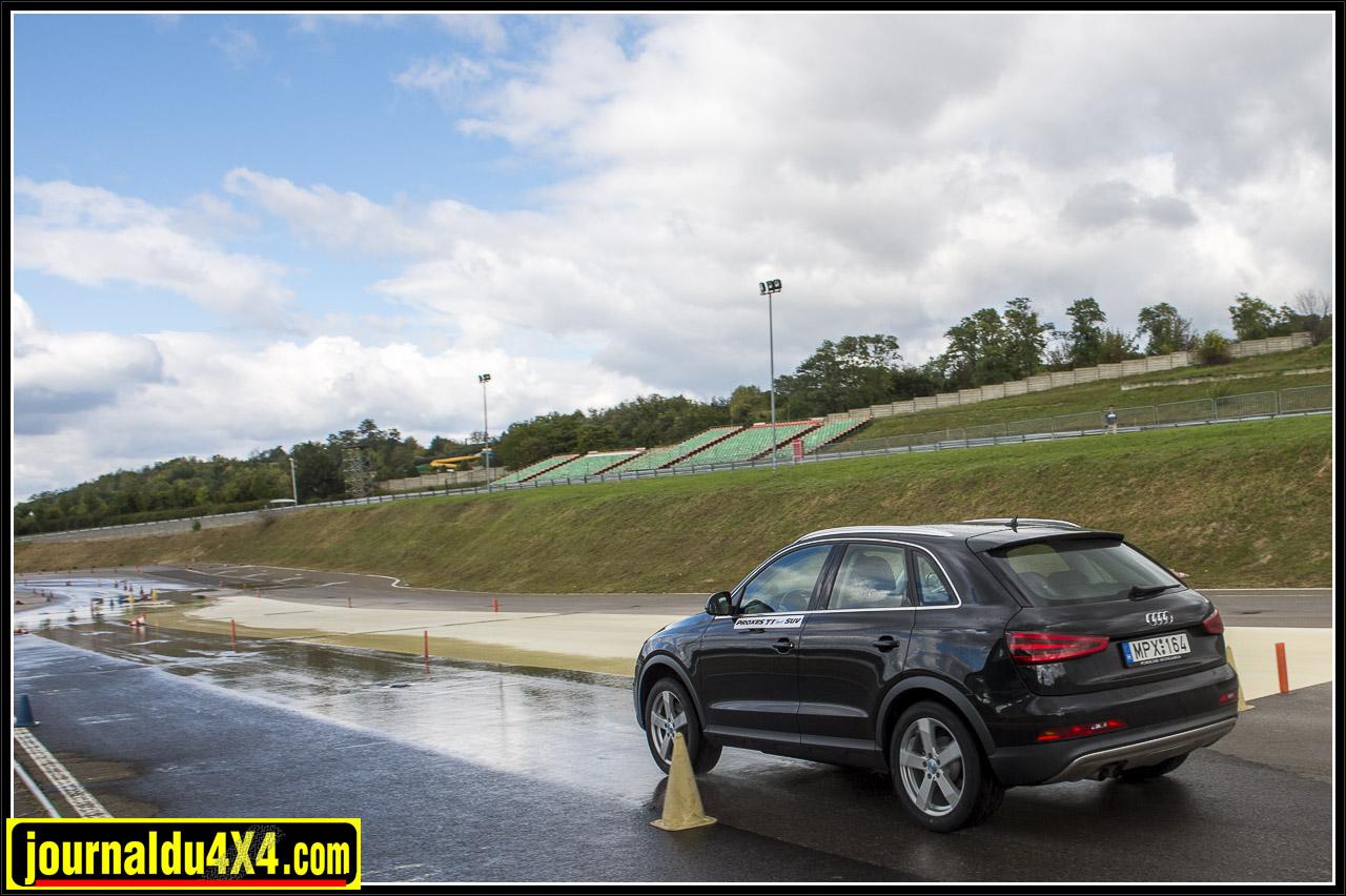 test de freinage sur route humide