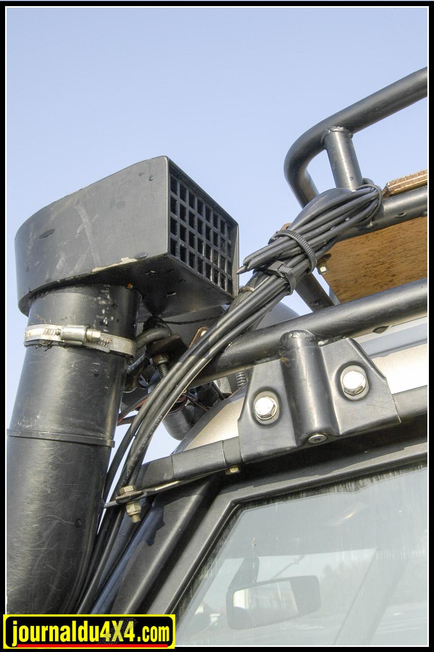 Mises à l'air des moteurs, boites et ponts regroupées «hors eau» au niveau du schnorkel Mantec