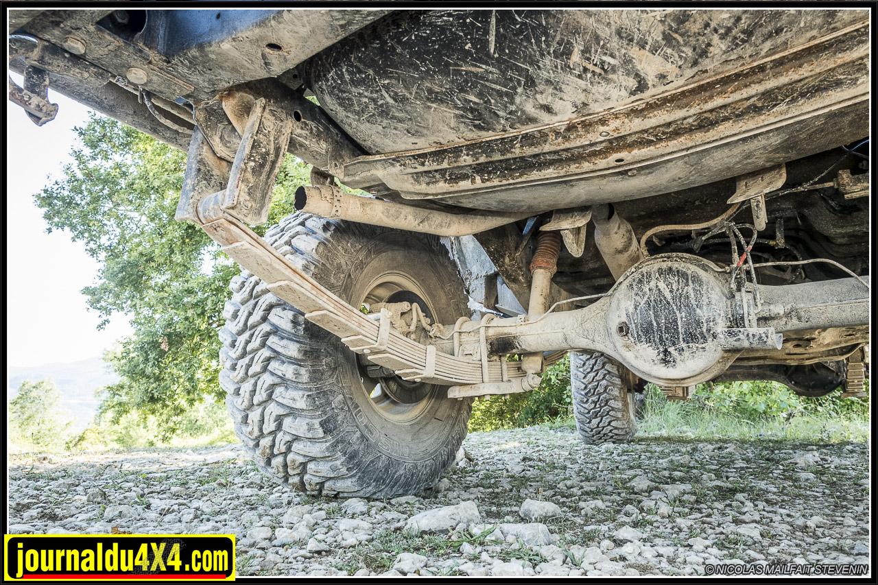 vue des suspensions et jumelles à l'arrière