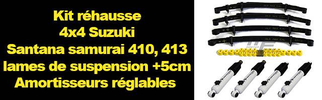 Suzuki et Santana : Kit réhausse lames de suspension +50 mm amortisseurs réglables