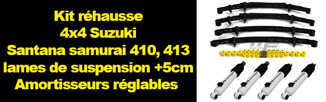 suzuki et santana kit r hausse lames de suspension 50 mm amortisseurs r glables. Black Bedroom Furniture Sets. Home Design Ideas