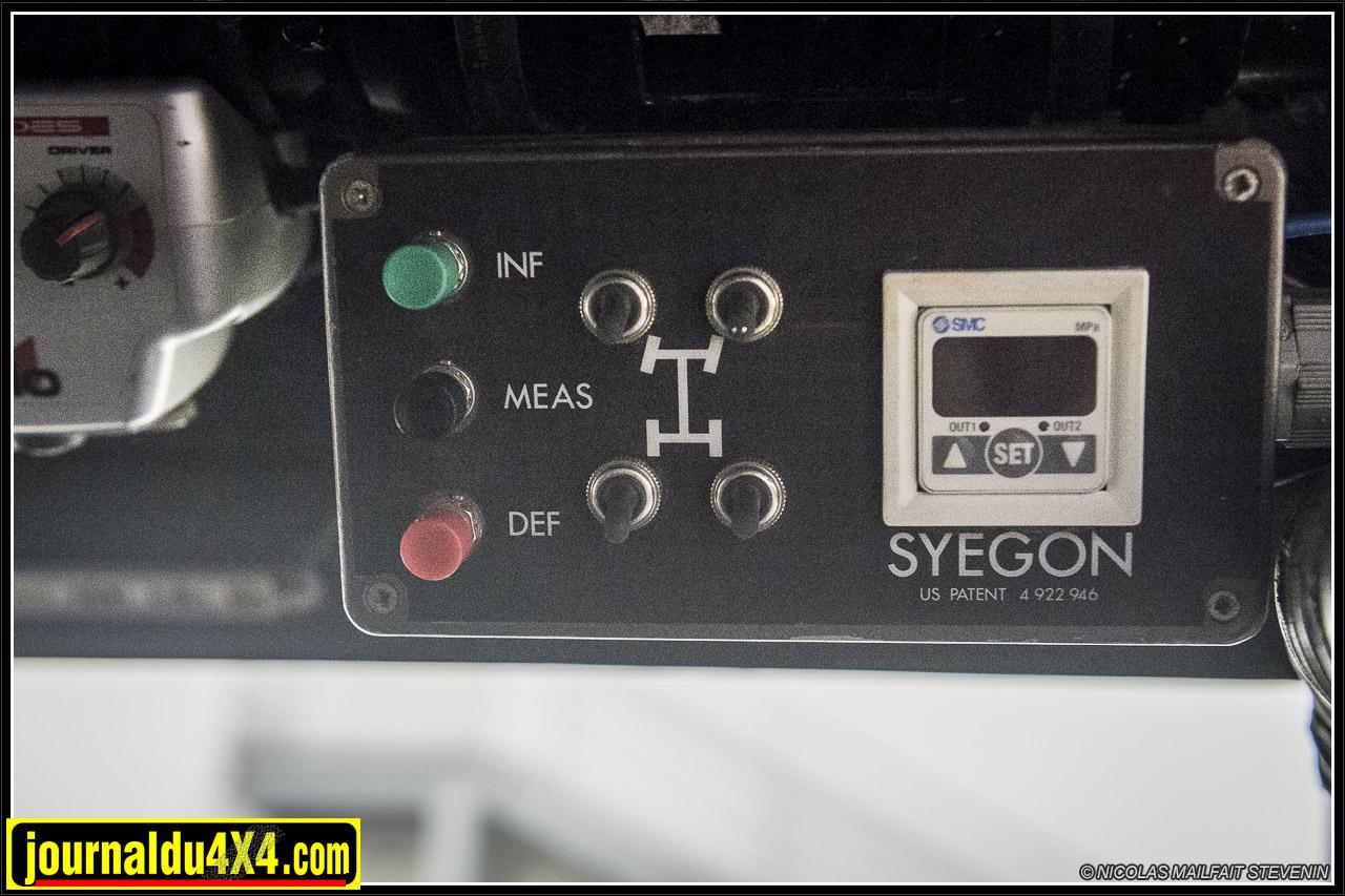 le boîtier SYEGON de réglage de la pression de chaque roue. Le bouton vert permet de gonfler, le rouge de dégonfler ety le dernier de mesurer la pression