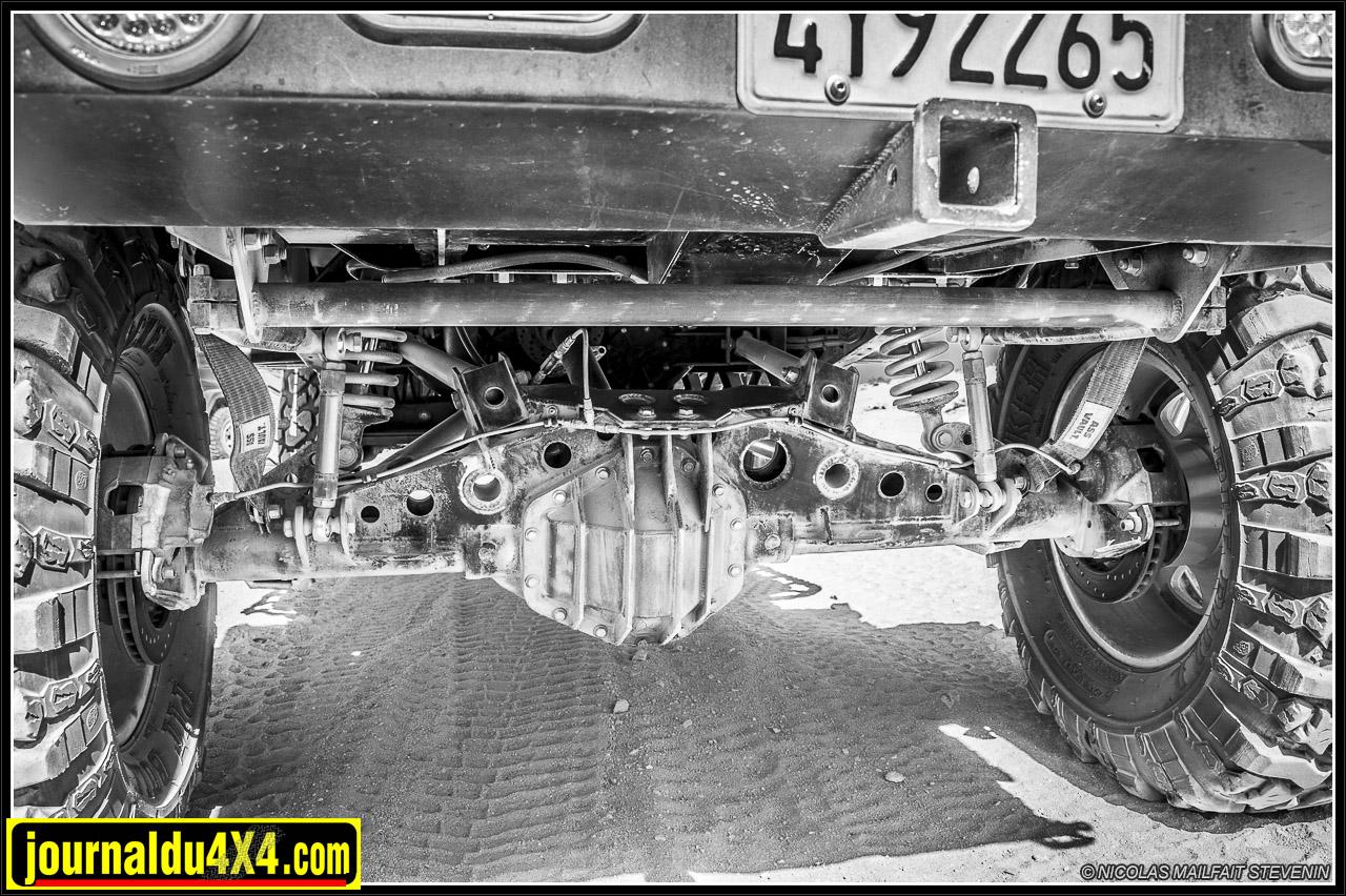 Un 14 bolts avec un solide couvercle comme à l'avant pour le bol de pont, une conversion pour freins à disques, un blocage Detroit Locker, ça respire le costaud