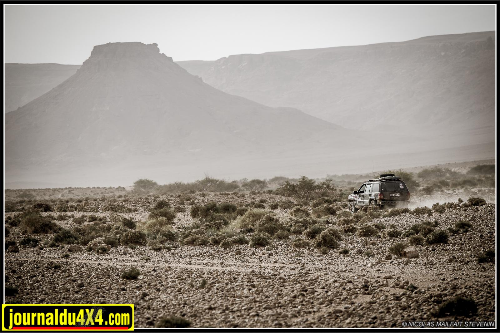 Suivi par une trainée de poussière le 4x4 évolue dans un environnement aride