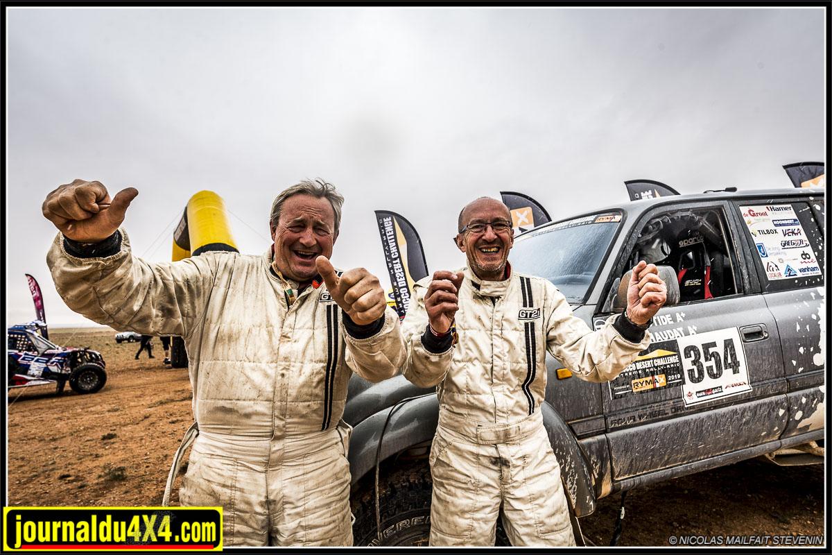 Bruno Bastide Didier Chaudat à l'arrivée du morocco desert challenge