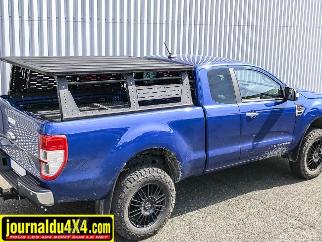 Multirack pour pick up, ici un Ford Ranger en cabine approfondie